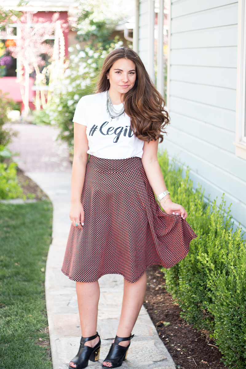 hashtag # legit graphic tee and polka dot midi skirt