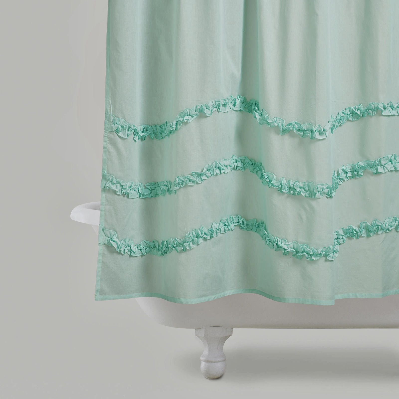 link harbor blue ruffle shower curtain