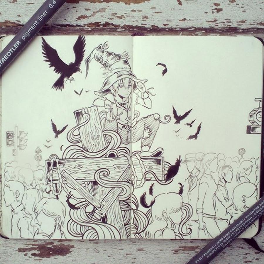 13-#46-Scarecrow-365-Days-of-Doodles-Gabriel-Picolo-www-designstack-co