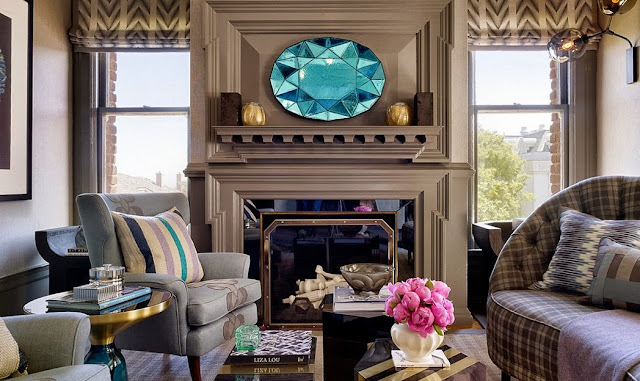 starburst mirror, mosaic mirror, living room, fireplace, blue, stained glass mirror, em design interiors