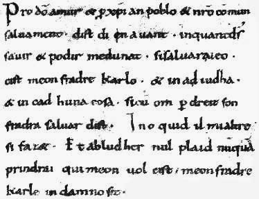 Fragment uit de Eed van Straatsburg uit 842 na Christus