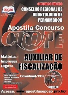 Apostila concurso CRO/PE 2015, Auxiliar de Fiscalização, Saiba mais.