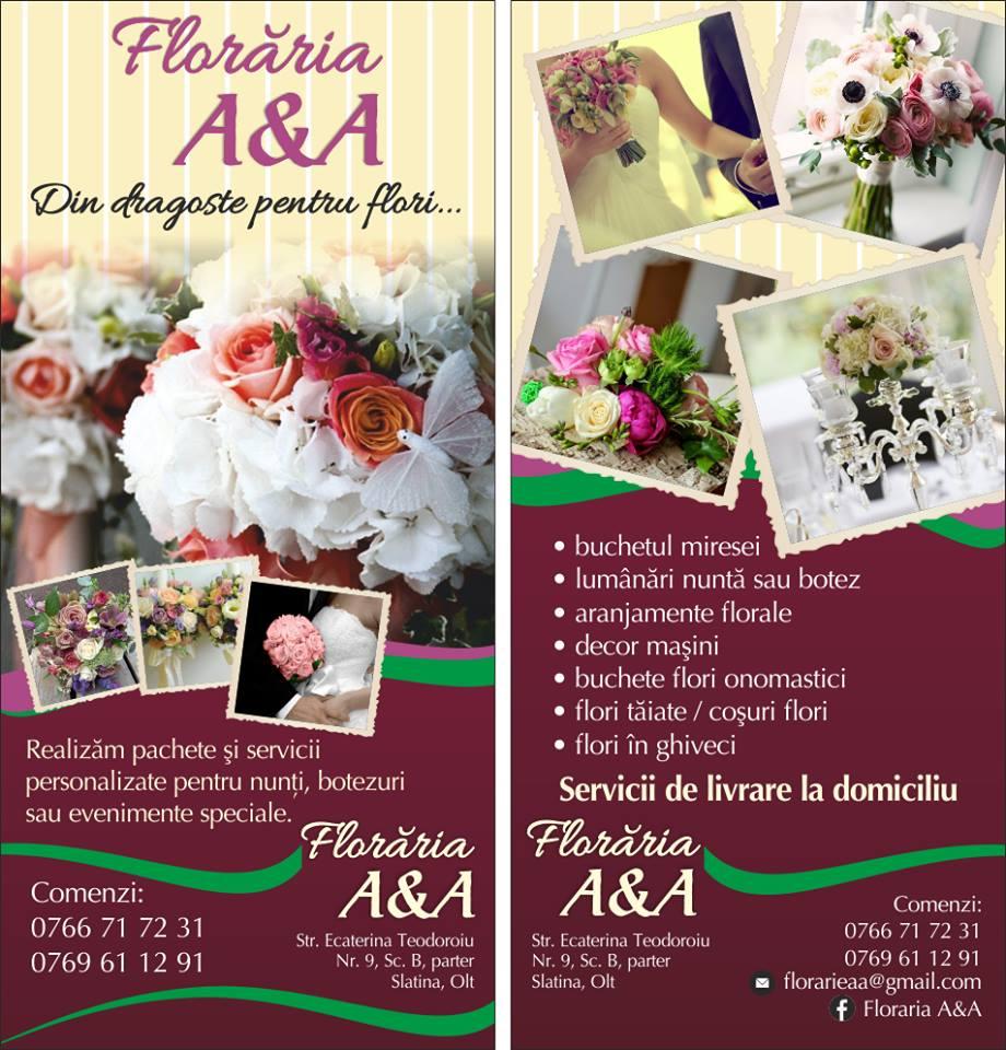 Floraria A&A -pachete aranjamente florale pentru nunti/botezuri/corporate