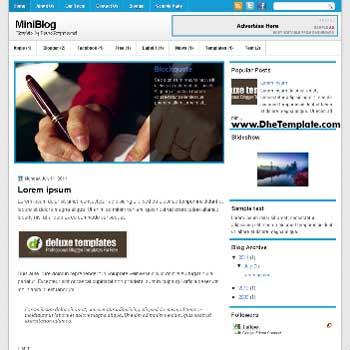 MiniBlog blogger template. template blogger magazine style template. template blogger with featured content slider