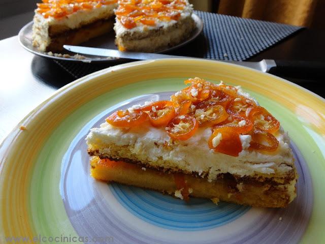 Tarta chiffon de kumquat y nata