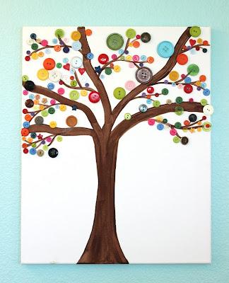 لوحة شجرة مصنوعة بازرار الملابس