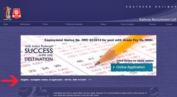 Application Status of RRC Group D Post Chennai