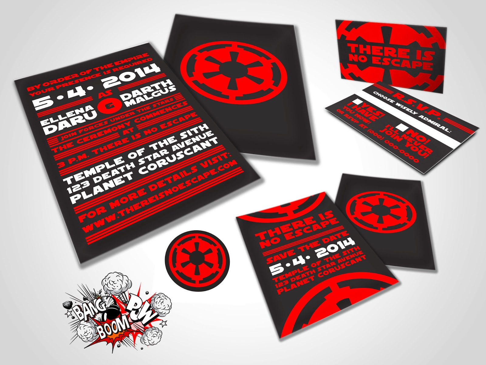 Bang Boom Pow There is No Escape Star Wars Themed Wedding Invitations