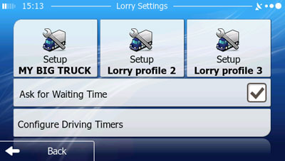 iGO primo Truck Settings