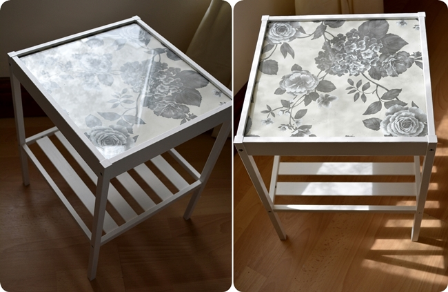 Nesna Ikea hack bedside table floral furniture window seat wallpaper