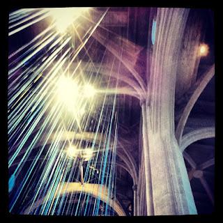 Looking up at the Ribbon installation at Grace Cathedral
