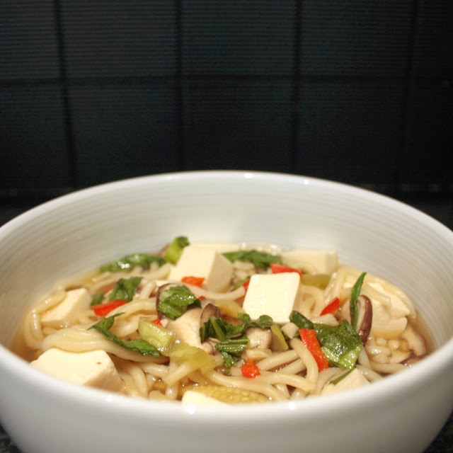 A warming and fragrant Asian noodle soup with tofu, bok choy, shiitake mushrooms, garlic and ginger