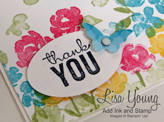 Stampin Up! Painted Petals stamp set gives any card a watercolored flair. Clean and simple flower card. Handmade by Lisa Young, Add Ink and Stamp.