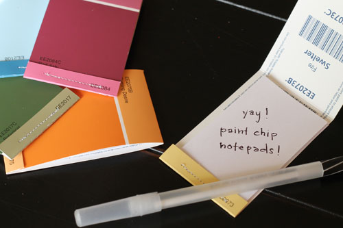 Hardly housewives guest post paint chip notebooks i really really like paint chips and was looking for a clever business card idea colourmoves