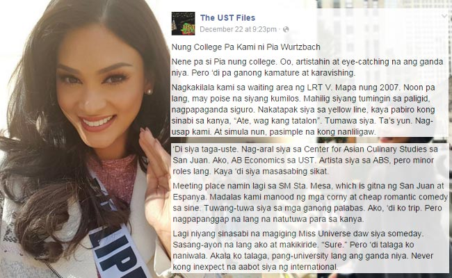 Miss Universe Pia Wurtzbach Alleged Ex-boyfriend Post About Their Past Relationship