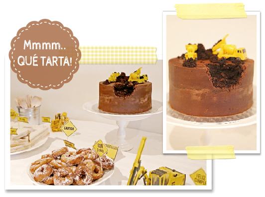 tarta original cumpleaños excavadoras