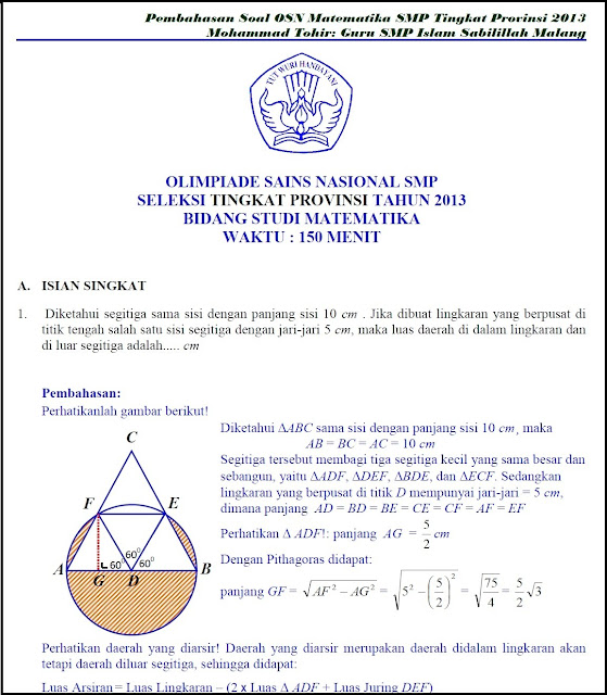 Sd Soal Inggris Bahasa Olimpiade Smp Osn Tingkat Provinsi Pembahasan Unduh Soal Matematika 2013 Juga