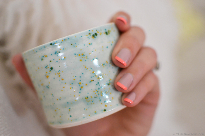 DIY Modern Neon Coral and Neutral Grey French Manicure via Triple Max Tons