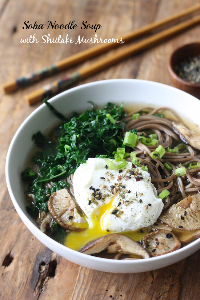 Soba Noodle Soup with Shiitake Mushrooms & Kale by SeasonWithSpice.com