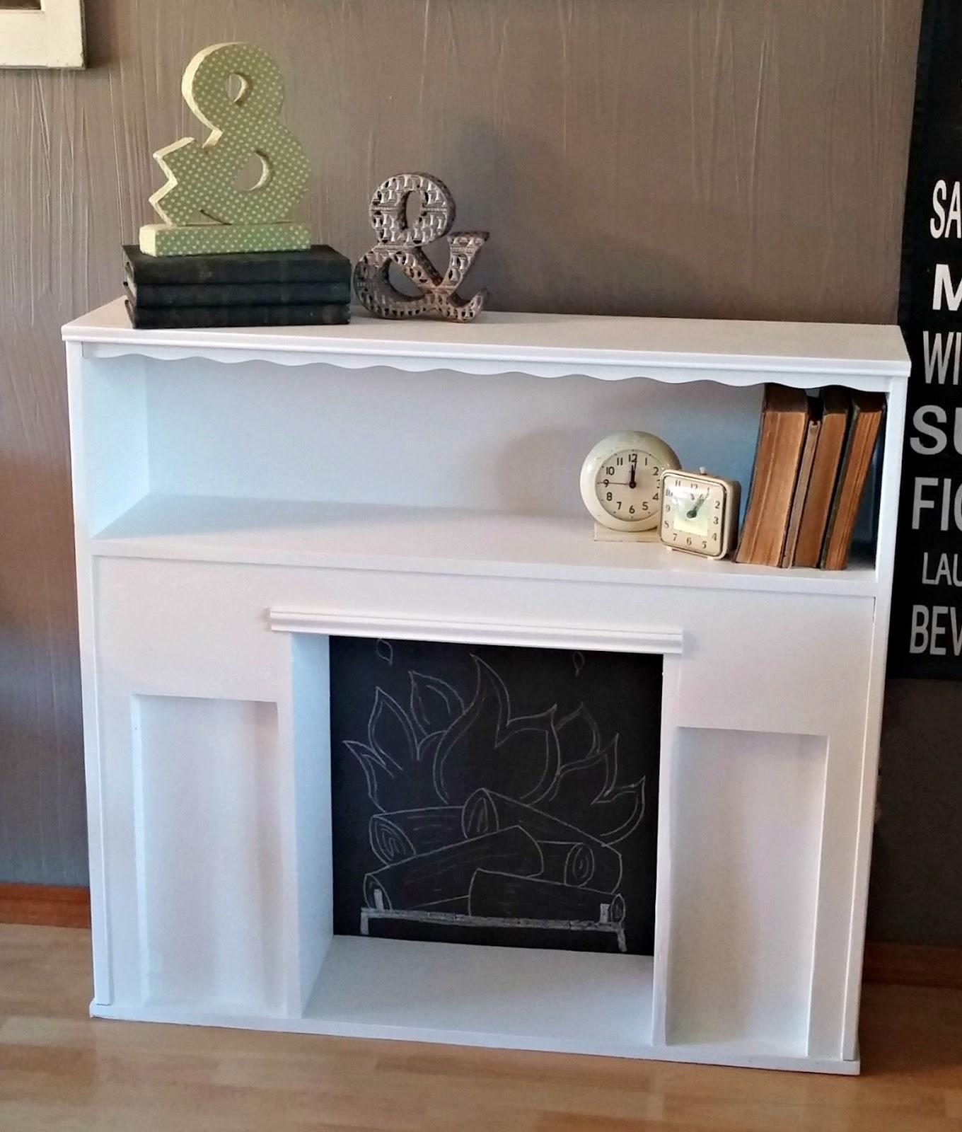 diy faux fireplace headboard makeover little vintage cottage