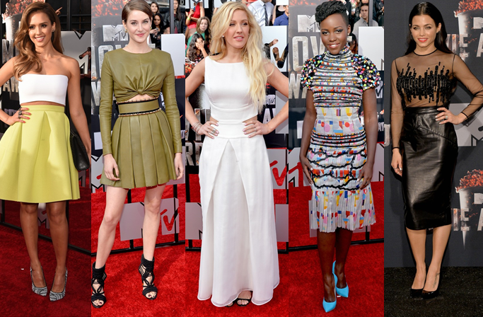 mtv movie awards, red carpet, jessica alba, shailene woodley, ellie goulding, lupita nyong'o, jenna dewan