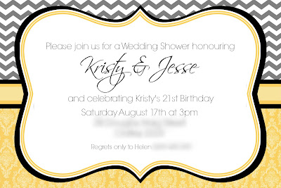 Kristy and Jesse Wedding Shower Invitations - Gray Chevron and Yellow Damask