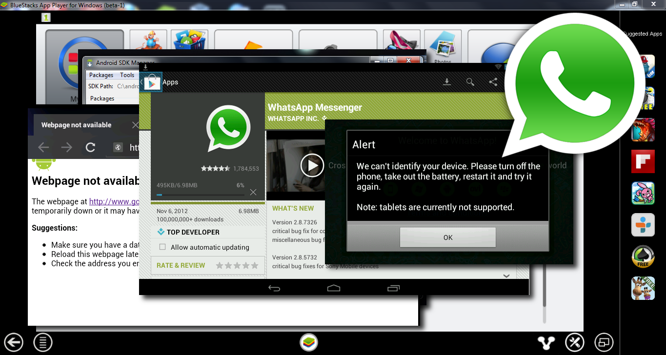 WhatsApp on Windows 7, trough several application