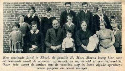 De familie Maes-Moens uit Eksel kregen 16 kinderen.
