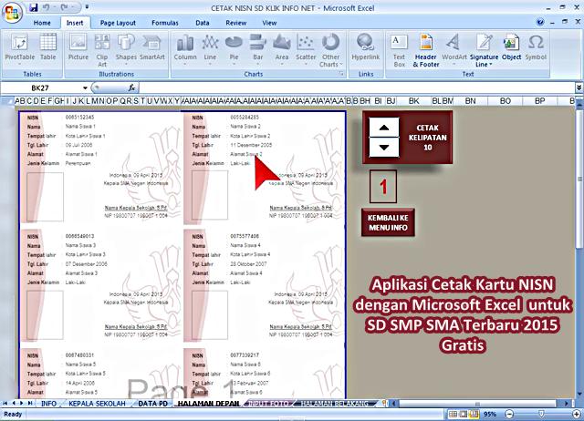 Aplikasi Sederhana untuk Cetak Kartu NISN dengan Microsoft Excel