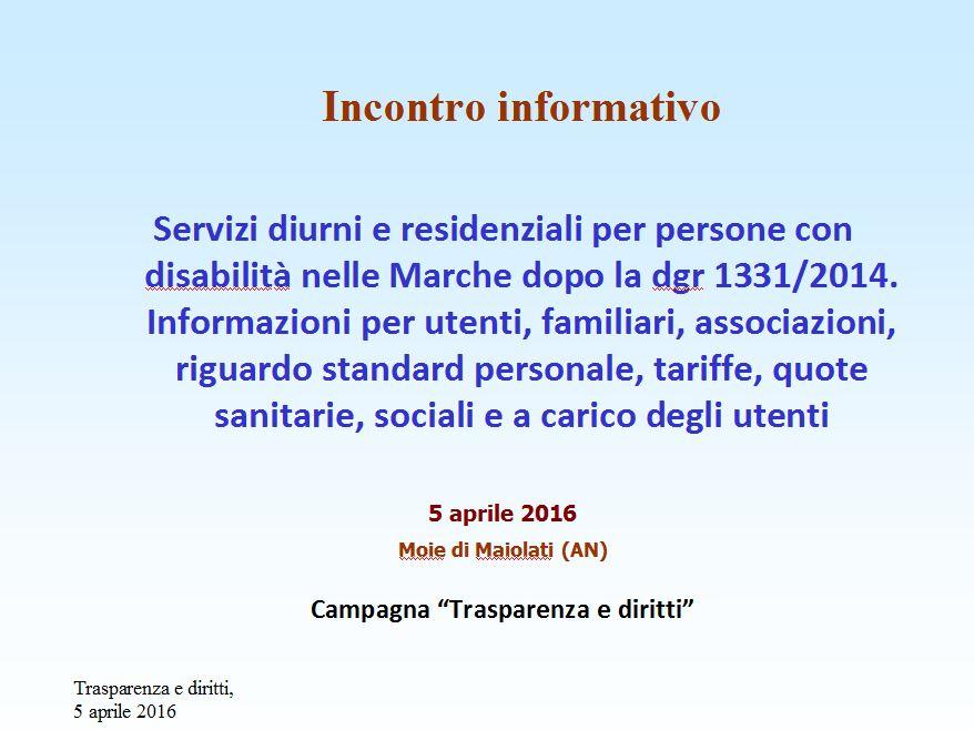 Incontro informativo su centri diurni e residenziali disabili nelle Marche.