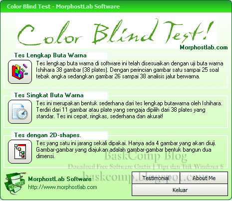Gambar 1: Tampilan utama Color Blind Test
