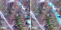 The left image, captured by a satellite in October 2014, shows Death Valley's Badwater Basin during a year with normal precipitation. The right image, taken earlier this month, shows the recent severe flooding in the region. (Image credit: USGS-NASA)  Click to Enlarge.