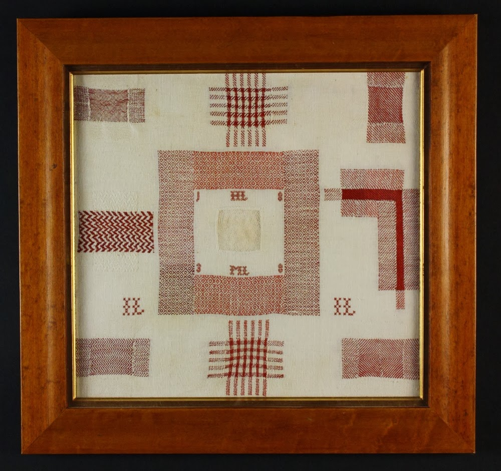 also at wilkinsons is lot 259 a pattern darning sampler displaying patches of various weaves gingham check herringbone diaper twill all worked in