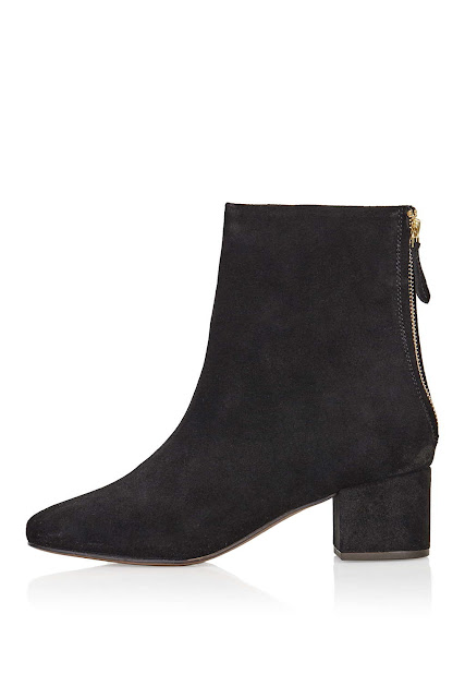 black suede ankle boots, back zip boots,gold zip black boots