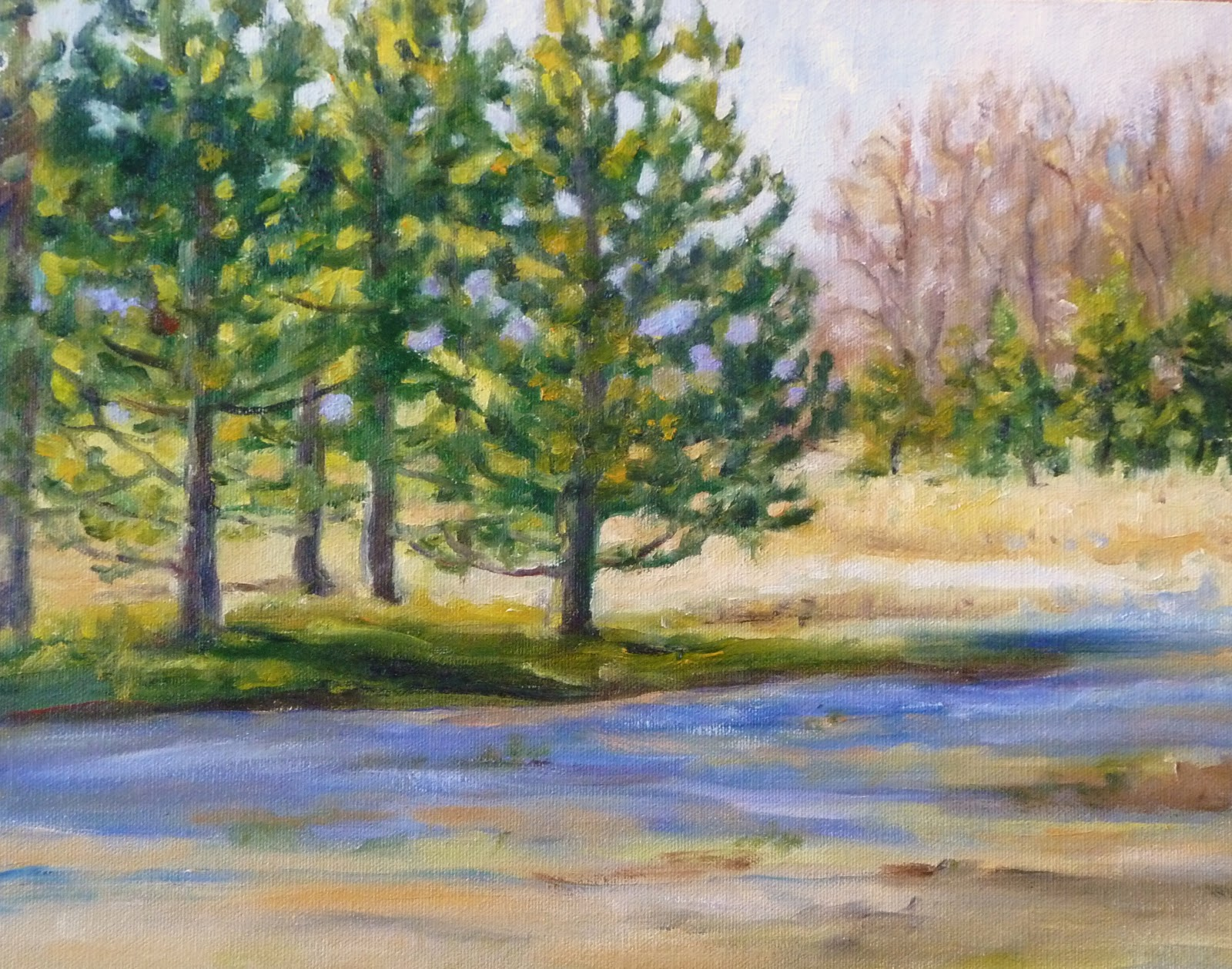Daily Painting Projects: Pines in Winter Light Oil Painting ...