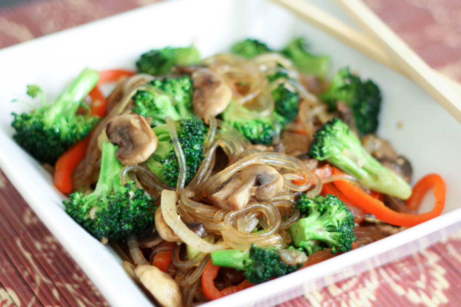Korean Jap Chae {or Chop Chae} recipe with Broccoli and Mushrooms