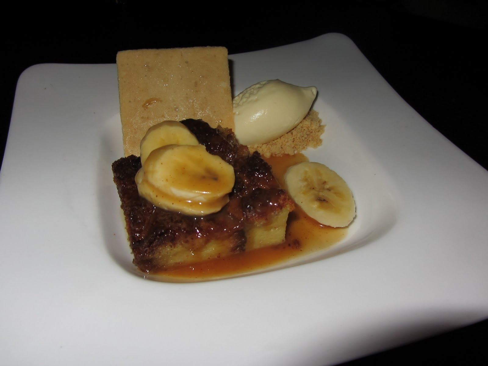 ... Bread Pudding with maple butterscotch, bananas and whiskey ice cream