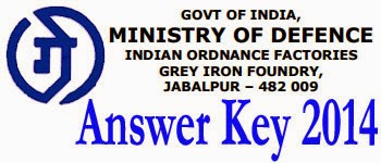 Grey Iron Foundry Jabalpur Tradesman Answer Key 2014