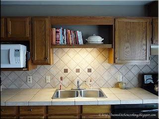 new cookbook shelf with lower light on