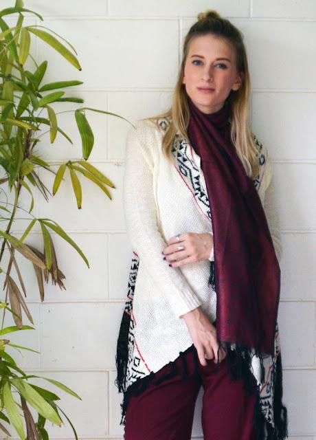 burgundy scarf style