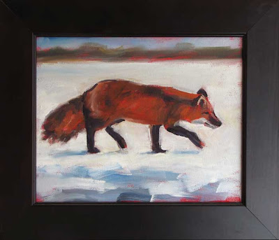 oil painting, fox in snow