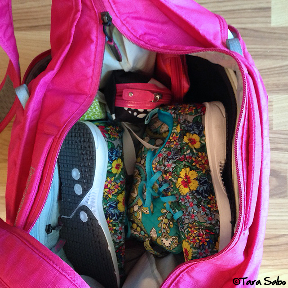 pack your gym bag, puma flower shoes, ready for the gym