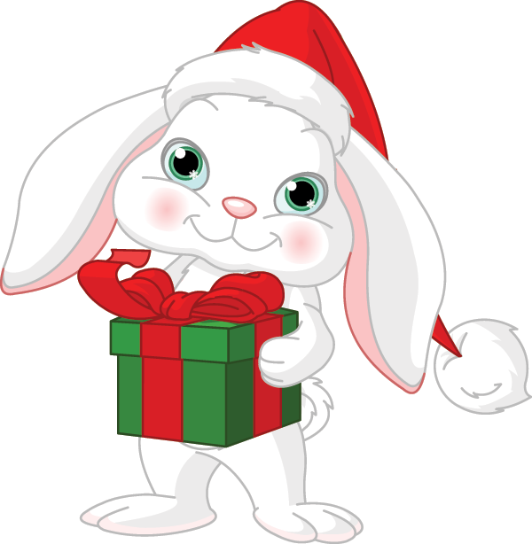 Christmas Bunny Holding a Gift
