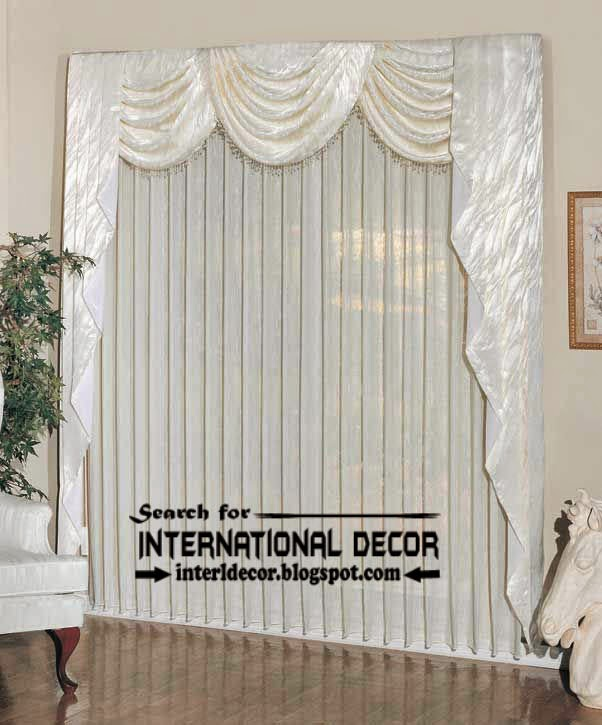 Contemporary white curtain panels and valance, door panel curtains, velvet valance