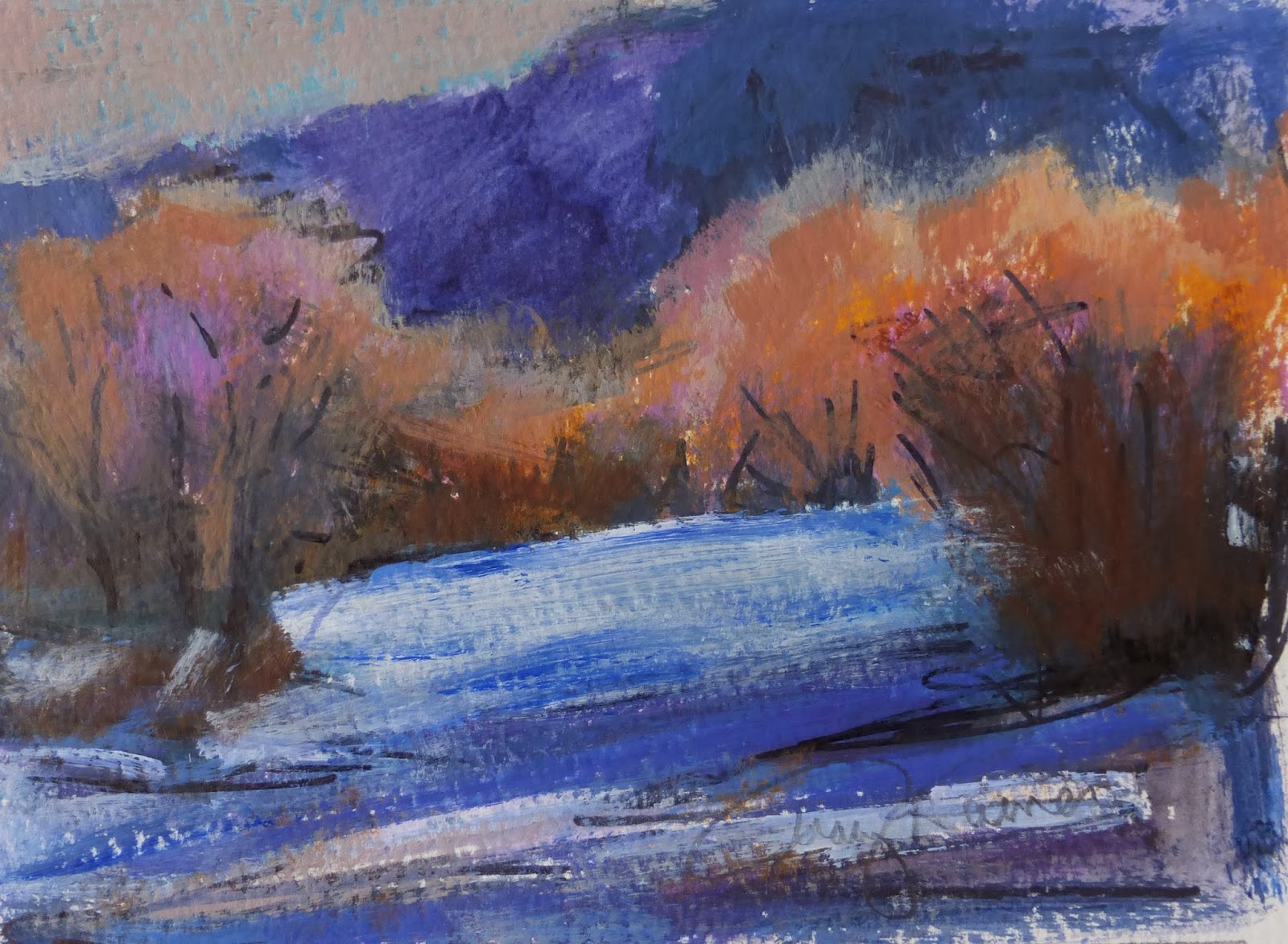 Fine watercolor art for sale - Deer Creek Rhythm Is A 5x7 Mixed Media Painting Using Acrylic Marker Ink And Pencil On 140lb Watercolor Paper There Is A Small Margin Around The Image To