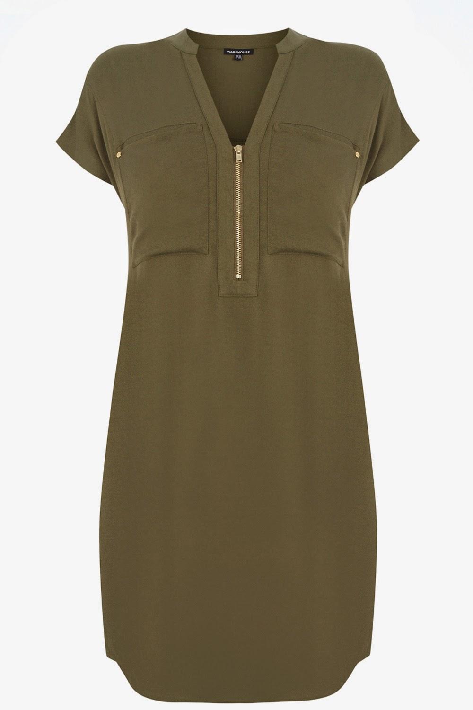 khaki zip dress
