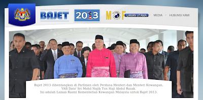 Laman Kementerian Kewangan Bujet 2013