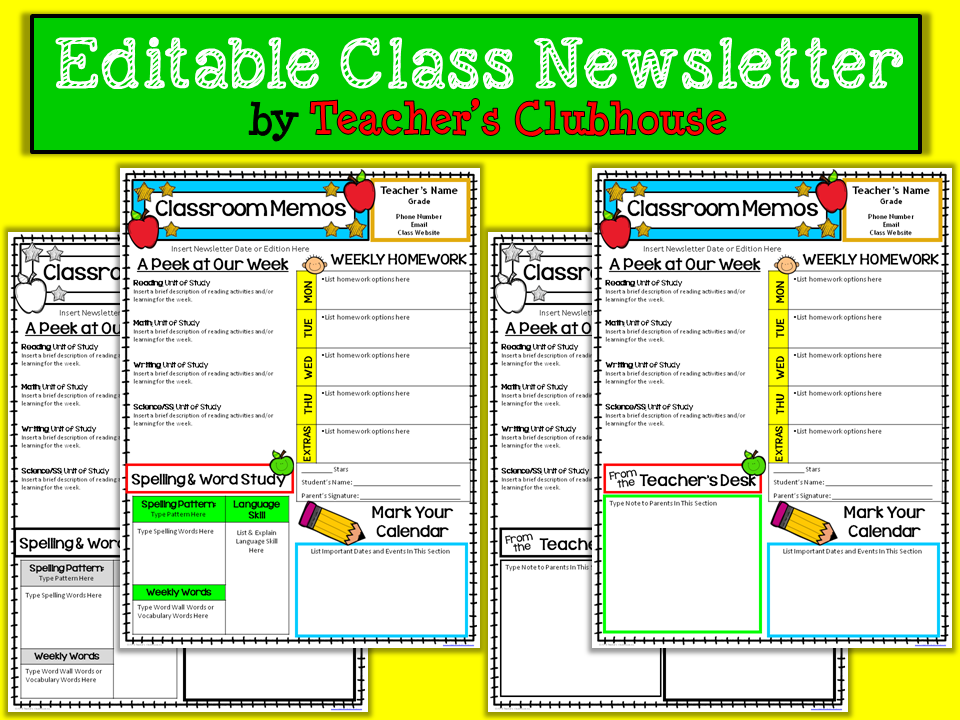 http://www.teacherspayteachers.com/Product/Editable-Class-Newsletter-1384368