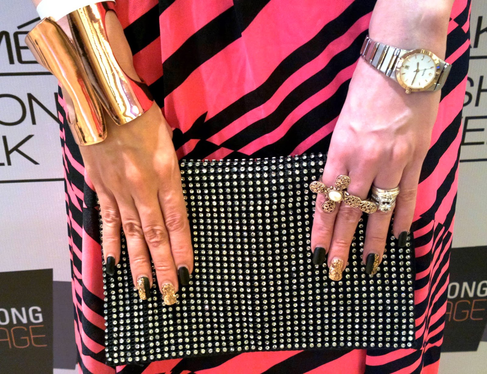 Black & Gold Manicure, Jewelry & Mango Clutch