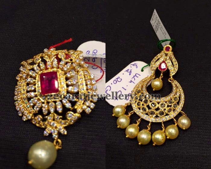Cz and uncut stones pendants jewellery designs left 22 carat gold designer cz pendant with square shaped faceted cut ruby in the center pearls hanging rightuncut diamonds studded chadn bali design aloadofball Image collections